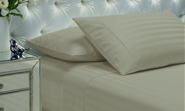 1200TC Damask Sheet Set with Two Ultra Bounce Pillows: Queen ($89) or King ($99)