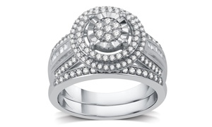 3/4 CTTW Diamond Cluster Bridal Set in Sterling Silver by DeCarat
