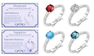 (Bijou)  Bagues PJ pierres naissance cristaux Swarovski® -56% réduction