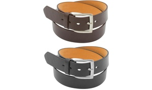 Men's Black and Brown Leather Belts (2-Pack)