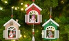Set of Three Wooden Christmas House Decorations