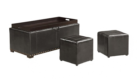 Faux Leather Storage Bench with 2 Matching Side Ottomans