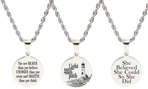 Pink Box Stainless Steel Round Tag Inspirational Necklaces