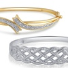 14K Gold-Plated Diamond-Accent Bangles