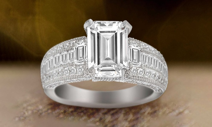 Lesa Michele Cubic Zirconia Engagement Ring In Sterling Silver Groupon