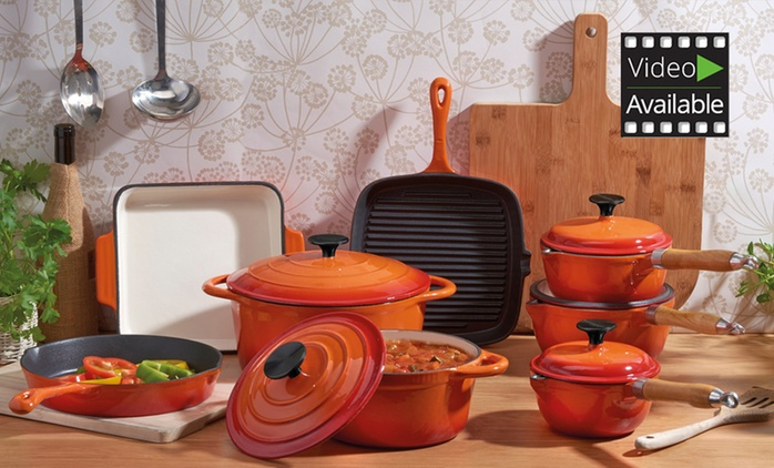 Cooks Professional 3, 5 or 8 Piece Deluxe Cast Iron Pan Set from €59.99 (Up to 71% Off) With Free Delivery