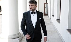 Lorens & Wiktor: Elegancki 2-częściowy garnitur męski (od 499 zł) lub smoking (899 zł) marki Lorens & Wiktor – 4 lokalizacje (do -60%)
