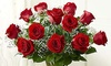 Flowers on the Park - In-Store Pickup : One Dozen Red or Multi Colored Roses In a Clear Vase at Flowers on the Park