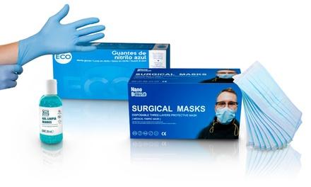 Kit Básico o Premium de mascarillas, gel y guantes