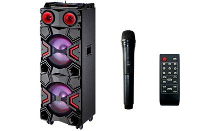 Altavoz portátil con micrófono inalámbrico y mando a distancia