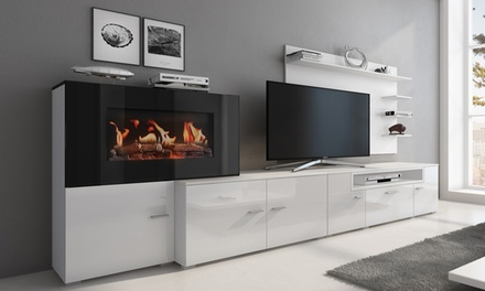 Mueble de salón con chimenea eléctrica Olympo