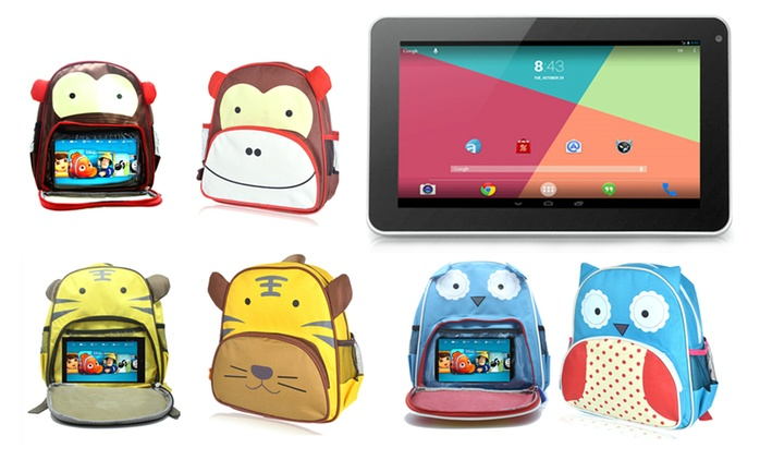 """Kids' Quad Core 7"""" Android Tablet Dual Camera with Choice of Backpack for £43 With Free Delivery (73% Off)"""