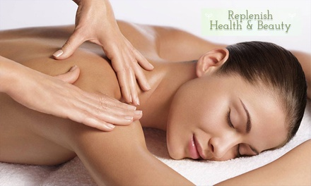 Pamper Package: 90 ($79), 120 ($99) or 135 Minutes ($109) at Replenish Health And Beauty (Up to $220 Value)