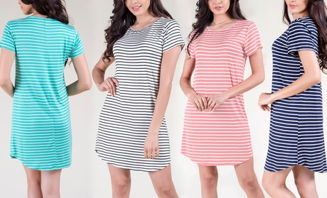 Women's Round-Hem Loose-Fit Striped T-Shirt Dress