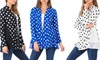 Voll Women's Tiered Hem Polka Dot Cardigan. Plus Sizes Available.