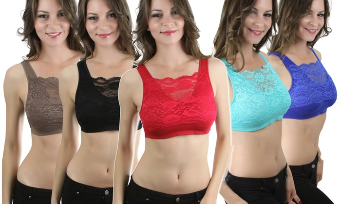 Women's Seamless Padded Bras with Lace Overlay