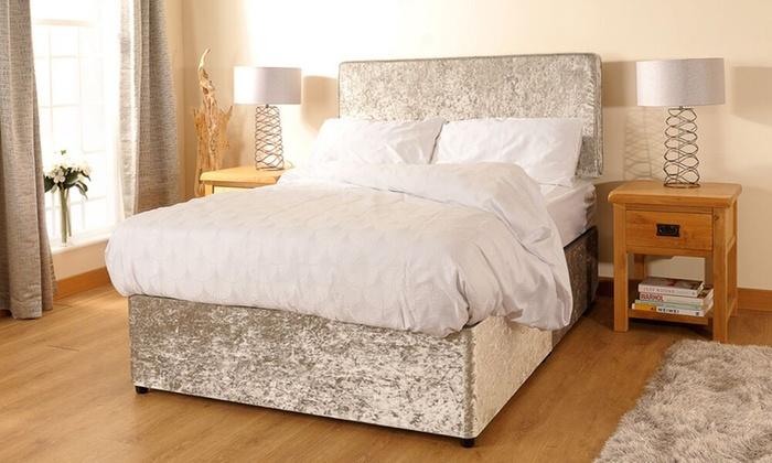 Up to 69 off velvet divan bed and mattress groupon for Divan bed and mattress deals