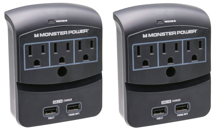 Monster Core Power 3-Outlet Surge Protector with USB Charging (1 or 2-Pack)