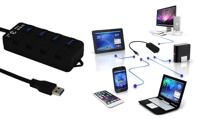 Four-Port USB LED Hub from £6.95