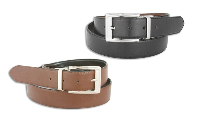 Men's Reversible Black-and-Brown Leather Belts (2-Pack)