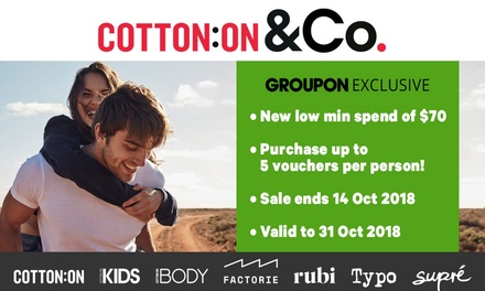 $5 Credit Online at Cotton On, Supré, Cotton On Body, Typo, Cotton On Kids, Rubi & Factorie Min Spend $70