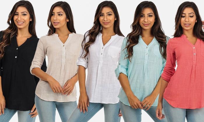 Women's Button-Up Roll-Up Sleeve Gauze Top