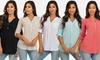 Women's Button-Up Roll-Up Sleeve Gauze Top: Women's Button-Up Roll-Up Sleeve Gauze Top