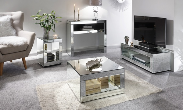 Mirrored Living Room Collection Groupon, Mirrored Living Room Furniture Set
