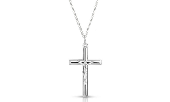Italian Sterling Silver Cross Necklace by Verona