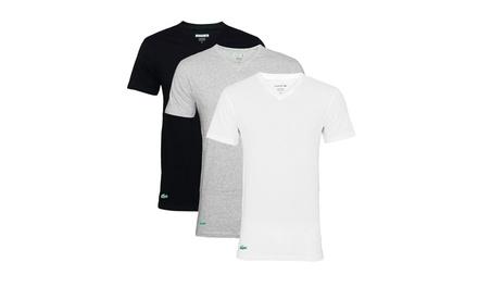 Lacoste 2er  oder 3er Pack Herren T Shirt mit Rundhals  oder V ausschnitt in der Farbe und Größe nach Wahl