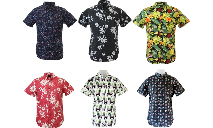 StraightFaded Men's Printed Short Sleeve Button-Down Shirts