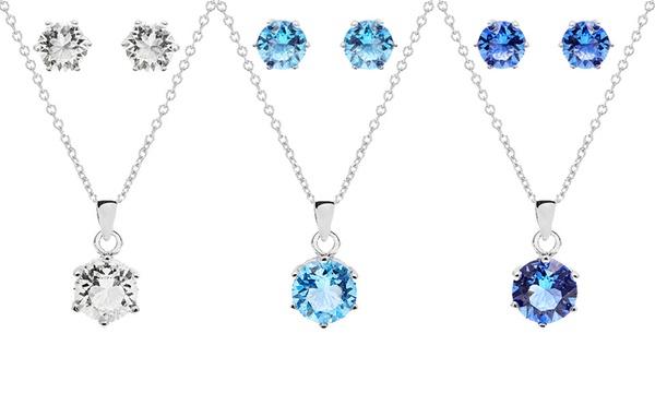 Ensemble pendentif et boucles d'oreilles avec pierre de naissance en  cristaux Swarovski®