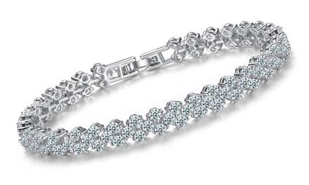 Bracelet multi-liens Saphir Clear Crystal en ''gold-filled'' 10 carats et Saphir de synthèse, dès 29,90€ (jusqu'à -94%)