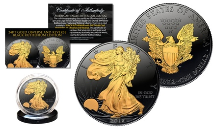 Black Ruthenium 2017 American Silver Eagle 1 Oz. Coin with 24Kt Gold