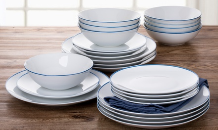 24 piece blue rim dinner set cardiff idiscount united kingdom. Black Bedroom Furniture Sets. Home Design Ideas