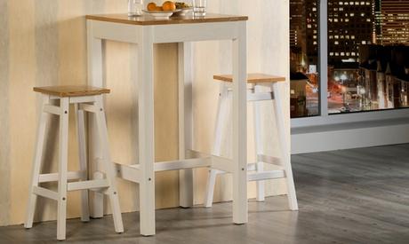 Lote de 2 taburetes de madera de pino macizo con opción a mesa de bar