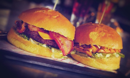 Burger with Fries and Optional Beer or Glass of Wine for Two or Four at One Up Glasgow