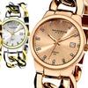 Akribos Women's Genuine Diamond Twist Chain Bracelet Watch