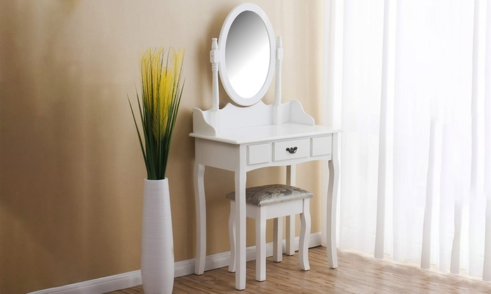 White One-Drawer Dressing Table with Cushioned Stool and Oval Mirror