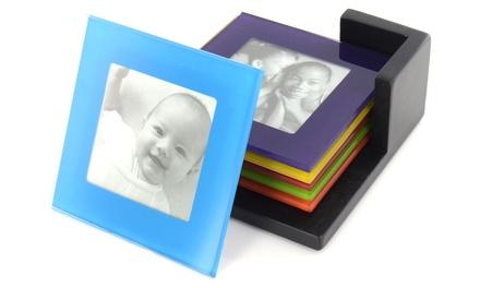 SixPiece MultiColoured Glass Photo Coaster Set