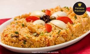 Rei do Bacalhau – Encantado: Risoto de bacalhau ou de camarão (opção com entrada e sobremesa) para 2 pessoas no Rei do Bacalhau – Encantado