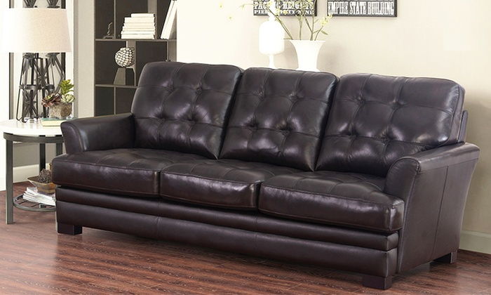 Abbyson living leather furniture groupon goods for Best deals on living room furniture