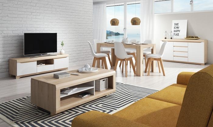 Ensemble Salon Compose D Un Meuble Tv Une Table Basse Une Table Extensible Et Un Buffet