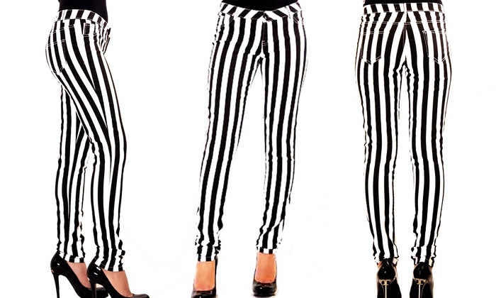 Black and White Striped Pants | Groupon Goods