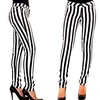 Women's Black and White Striped Pants (Medium)