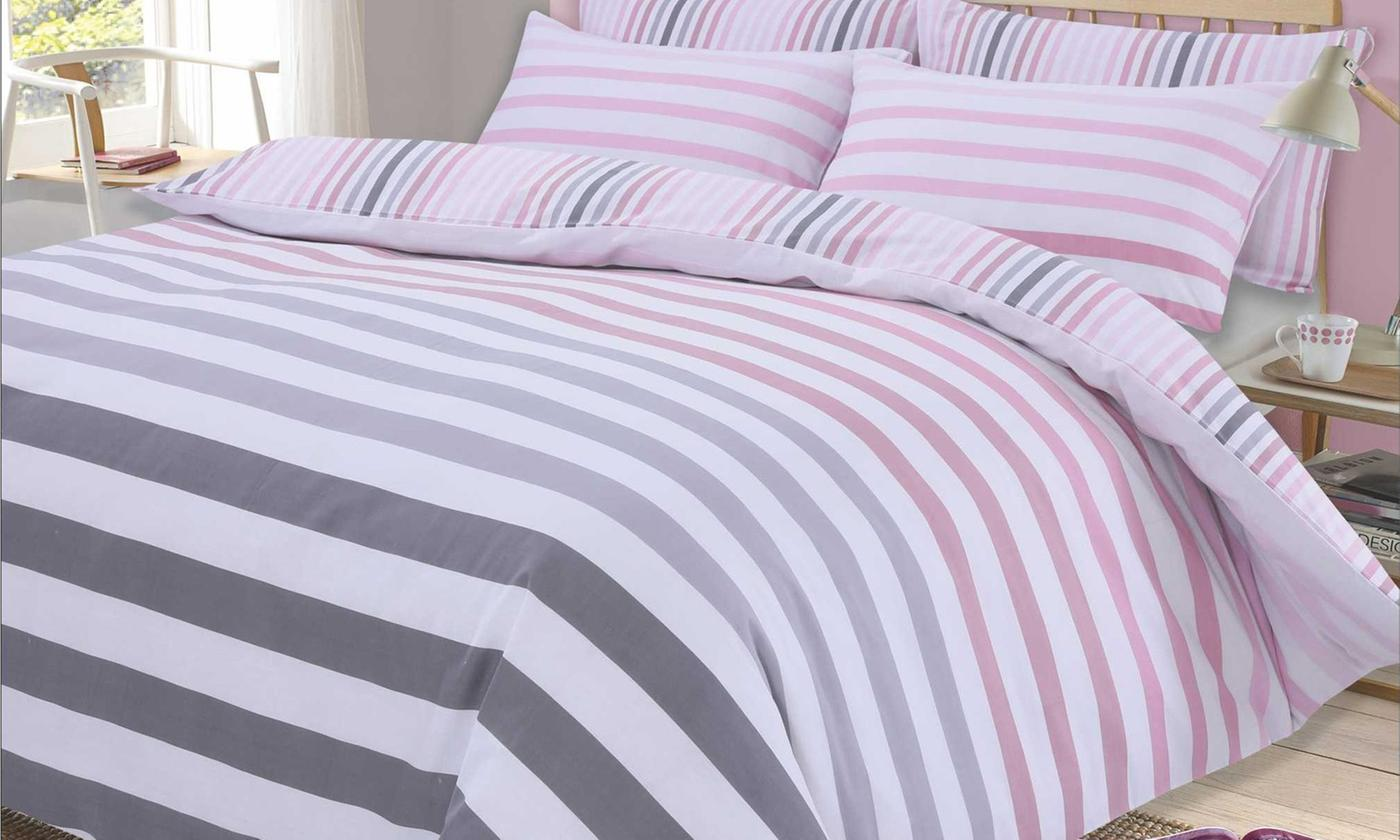 Dreamscene Stripes Reversible Duvet Set