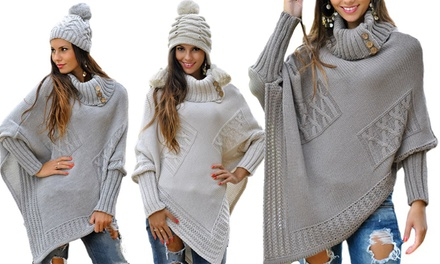 Chunky Cable Knit Poncho for £16.99