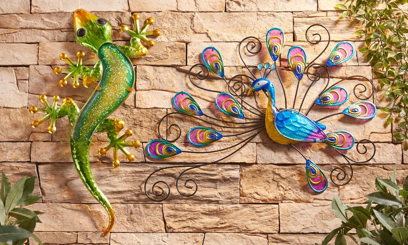 Gecko or Peacock Glass and Metal Wall Art