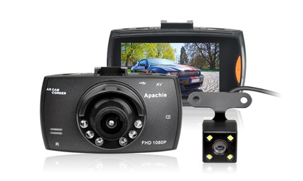 Apachie Porto Q Full HD Dual Front and Rear Dash Cam with Optional 16GB MSD Card