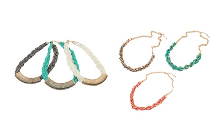 Cate & Chloe Braided and Beaded Necklaces. Multiple Options Available.